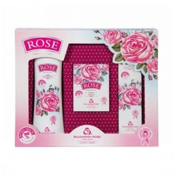 "Gift set ""Rose"" with rose oil (shampoo, hand cream, cream-soap"