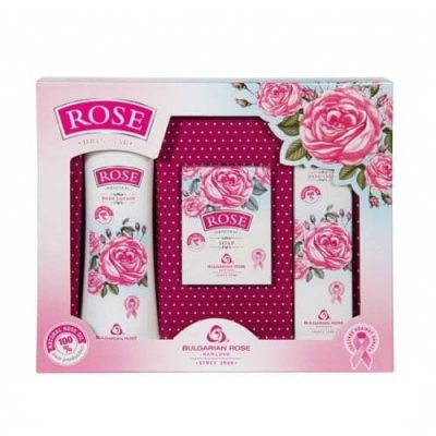 Gift set Rose with rose oil new (body lotion, hand cream, cream-soap)