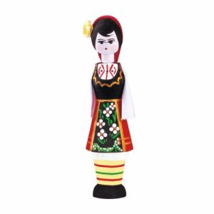 Wooden souvenir with rose fragrance doll – girl 2 ml