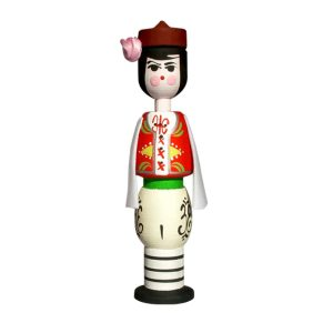 Wooden souvenir with rose fragrance doll - boy 2 ml