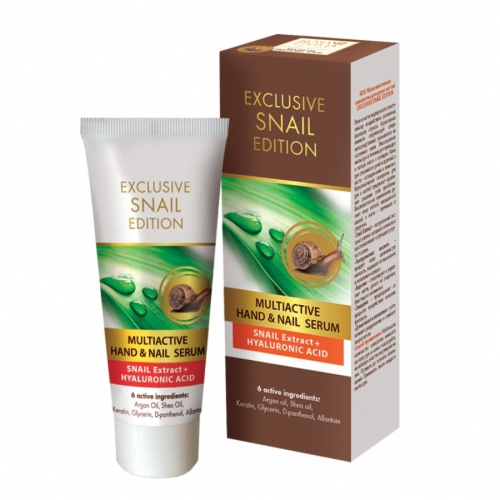 In addition, 6 active ingredients: argan oil, shea butter, keratin, glycerin, D-panthenol and allantoin. Hands and nails are constantly exposed to various stress factors. The aggressive impact of the environment has a direct impact on the skin. Washing your hands several times a day will result in loss of moisture and lipids. The hands become dry and the nails are matte and brittle Multi-serum is the ideal solution to this problem. The highly active ingredients provide soft and moist skin, as well as flexible and durable nails. The natural snail extract intensively regenerates and improves the elasticity of the skin. Hyaluronic acid provides silky softness and protects the skin from drying and wrinkles. Keratin stimulates and strengthens nails, leaving them smoother, shiny and unbreakable. Glycerin prevents the influence of harmful external factors. D-panthenol and allantoin soothe irritations and reduce redness. Use after each hand wash by applying a small amount of serum to your hands and nails by gently massaging and allowing the serum to fully absorb.