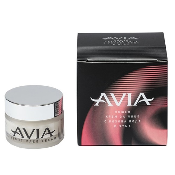 Avia Night Face Cream with rose water and clay 40ml